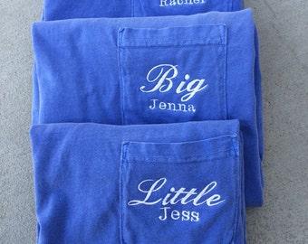 Big and Little long sleeve comfort colors pocket tess