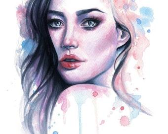 "Fine Art Giclee Print Female Portrait 5"" x 7"" - Emily Luella"