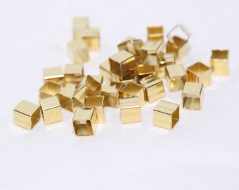 100 Pcs 4mm Brass Square Tubes , Spacer , Cube Beads, Tube Beads, Rectangle, Geometric, KA30