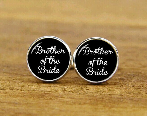 brother of the bride cufflinks, custom personalized wedding cuff links, custom round or square cufflinks & tie clips, groom cufflink for men