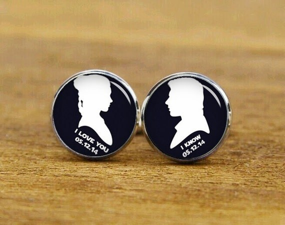 personalized wedding cufflinks, star cufflinks, i love you i know cufflinks, custom weddding cufflinks & tie tacks, anniversary gifts