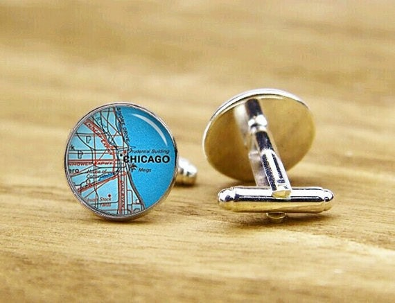 chicago map cuff links, Map Destination, custom Map Cufflinks, Illinois US, custom your city map, round, square cufflinks, tie clip or set