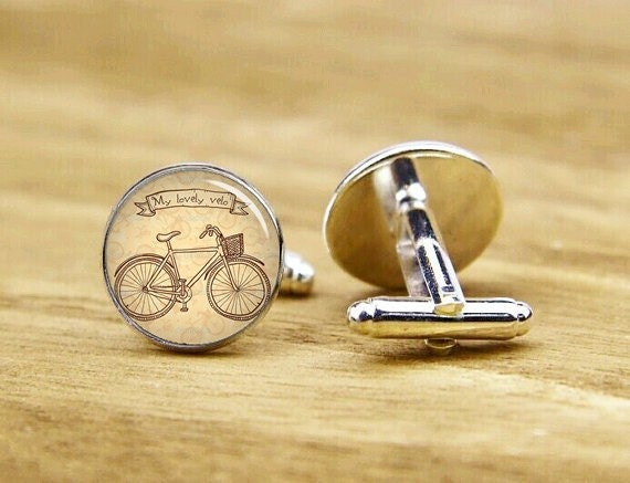 cufflinks, vintage bike cufflinks, old bicycle cufflinks, bike jewelry , custom wedding cufflink, round square cufflinks, tie clip or set