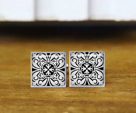 moroccan tile cufflinks, black and white, can match initial, personalized cufflinks, wedding cufflinks, round, square cufflinks, tie clip