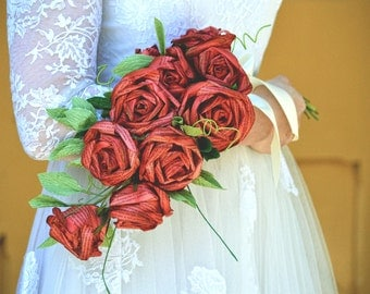 Red Wedding Paper Flower Alternative Bridal Sheath Bouquet