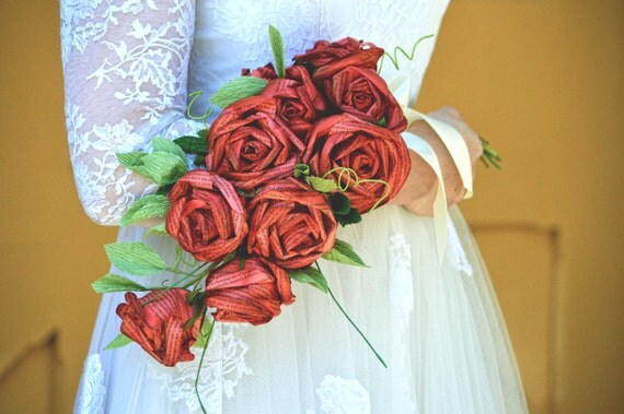 Red Wedding Paper Flower Alternative Bridal Sheath Bouquet