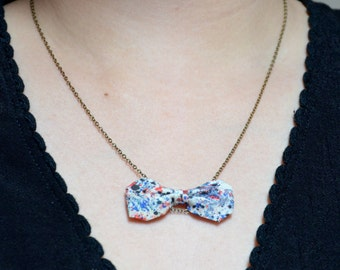 Necklace with a little delicate bow in colors spotted Liberty fabric