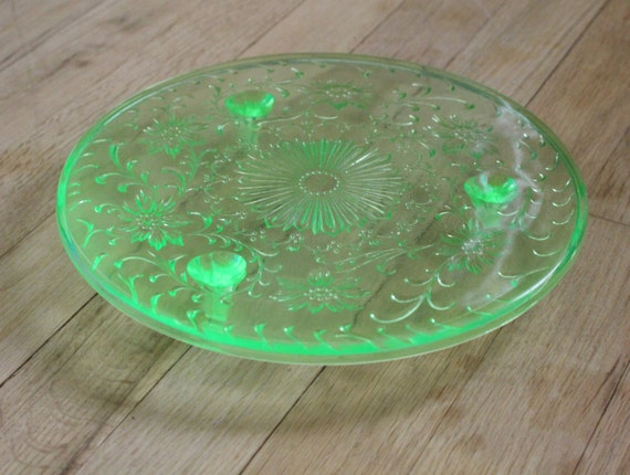 Rare Stamped Vaseline Glass Pie Cake Stand Floral And Vine