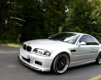 Poster of BMW E46 M3 White Left Front Motion on Black Wheels Print