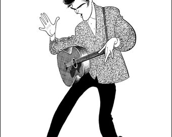 "AL HIRSCHFELD'S ""Elvis Presley, Blue Suede Shoes,"" Hand Signed by Al Hirschfeld, C of A, Ltd Ed"