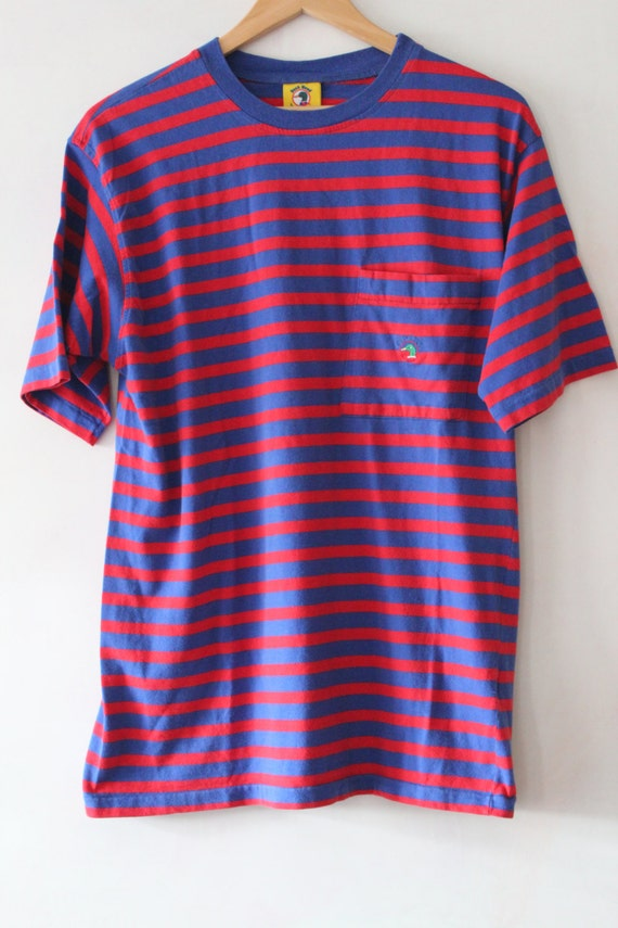 90s striped shirt vintage duckhead pocket tee red and blue for Red blue striped shirt