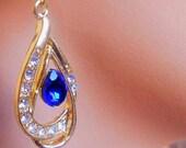 Wedding earrings swarovski / blue cristal drop earring 18 k gold filled