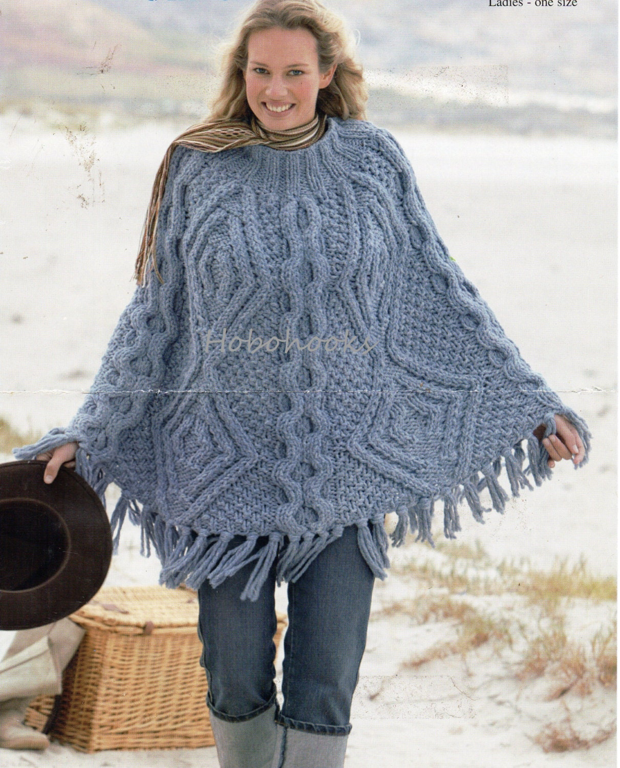 Ladies super chunky cable poncho one size super