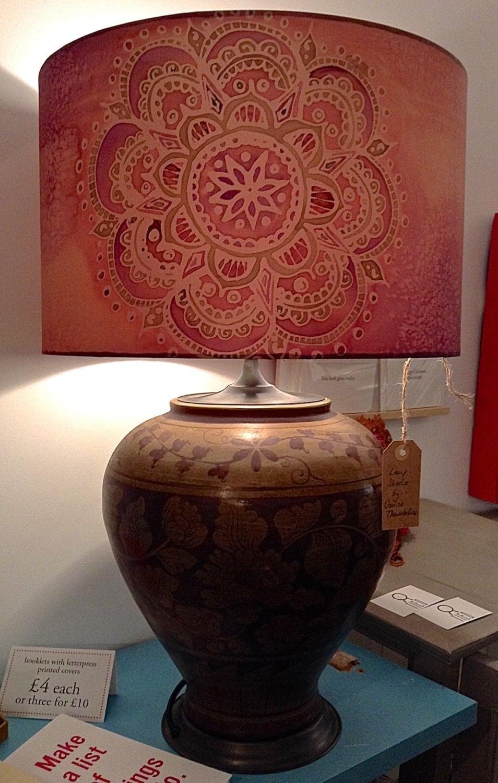 Indian Mandala Peach Purple Hand Silk Painted Lamp Shade