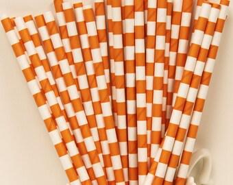 Paper Straws, 75 Orange Sailor Stripe Paper Drinking Straws, Orange Paper Straw, Party Paper Straw, Wholesale Discount, Made In USA, Wedding