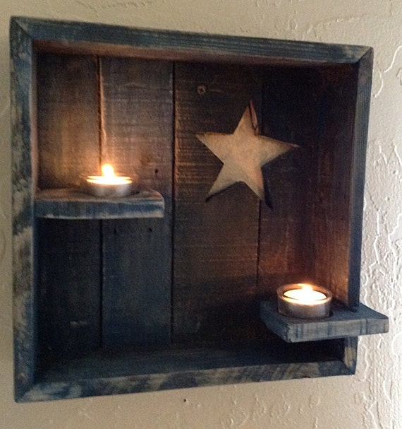 Items similar to Country Chic Tea Light Candle Wall Decor, Star Home Decor, Rustic Home Decor ...