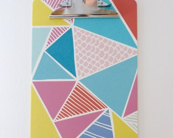 Handmade clipboard with geometric shape design