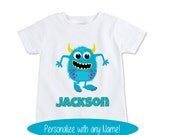 Monster name tshirt, boys or girls monster name outfit, Personalize with any Name! (EX 187)