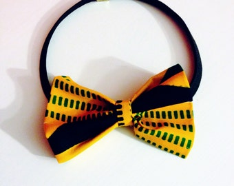 Kente hair bow - kente hair hand - Elastic headband - yellow and green kente