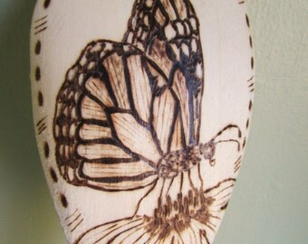"Wood Burned Spoon - ""Flutterby"" Monarch Butterfly"