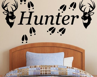 Personalized Name, Deer Heads and Tracks and  Vinyl Wall Decal.