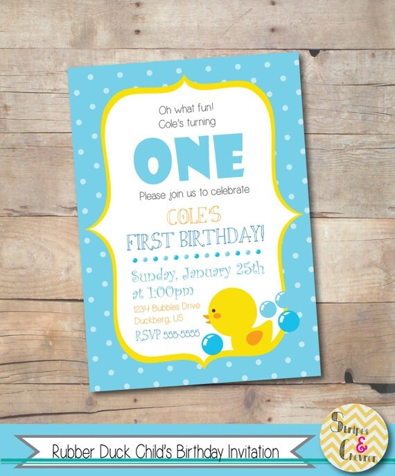 Rubber duck birthday invitation first birthday ideas boy 1st il570xn stopboris Image collections
