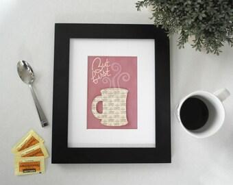 3D Coffee Art, But First Coffee, Kitchen Art Print, Coffee Art Kitchen, Coffee Artwork, Kitchen Coffee Art, Coffee Lover Decor, Coffee