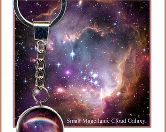 Magenta Galaxy keychain with descriptive Photo Card