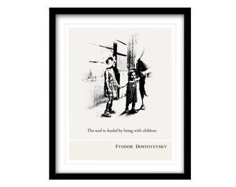 Illustration Art Print, Fyodor Dostoyevsky, FREE SHIPPING, Literary Art Print, Black And White Art, living room art, wall art, beautiful art