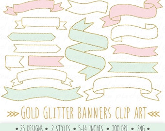 Gold Glitter Banners Clip Art. Hand Drawn Ribbon Banners. Doodle Banners Clip Art. Gold Glitter Digital Banners.
