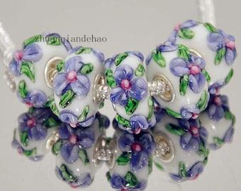 1pc Purple Flower Murano Lampwork Bead