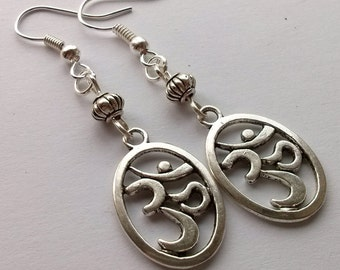 Ohm Earrings , Om Earrings , Silver Earrings , Yoga , Spiritual , New Age , Handmade Jewelry , Handmade Jewellery , Gift