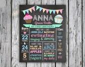 Milestone Chalkboard Sign - First Birthday Poster - Custom Birthday Sign - Photography Prop - Digital File - Print