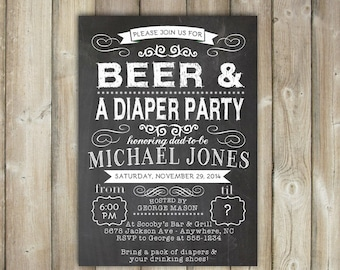 Beer And Diaper Party Invitation, Diaper Party Invite, For Men U0026 Women, Co
