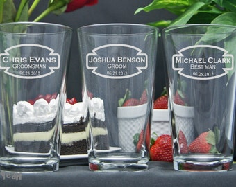 Etched Pint Beer Glasses / Personalized Groomsmen Gifts / Custom Wedding Party Glasses / Set of 4 / 16 Designs!