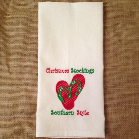 Christmas Kitchen Towel, Christmas Flip Flops, Southern Christmas, Christmas Tea Towel, Holiday Home Decor, Christmas Home Decor