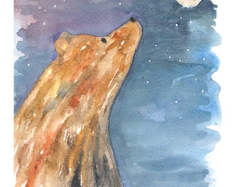 Bear Painting, Bear Nursery Art, Bear and Moon, Bear Under the Stars, Bear Watercolor, Print, 8x10, Nursery Decor, Home Decor, Storybook Art