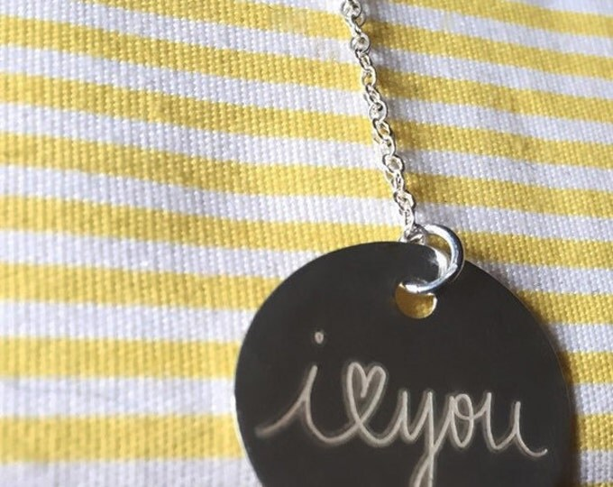 """Sterling Silver Circle Pendant Necklace (.8"""" Diameter) Mother, Grandma- Unique and Personalized"""
