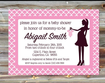 Personalized Custom Color Baby Girl Shower Romper Theme Invitation - Baby Shower Silhouette Invitation - Elegant Pink Baby Shower Invitation