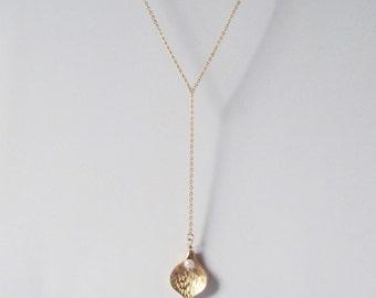 dainty lotus lariat necklace,gold y necklace, y shaped necklace, long y necklace, y style necklace , lariat necklace, drop necklace