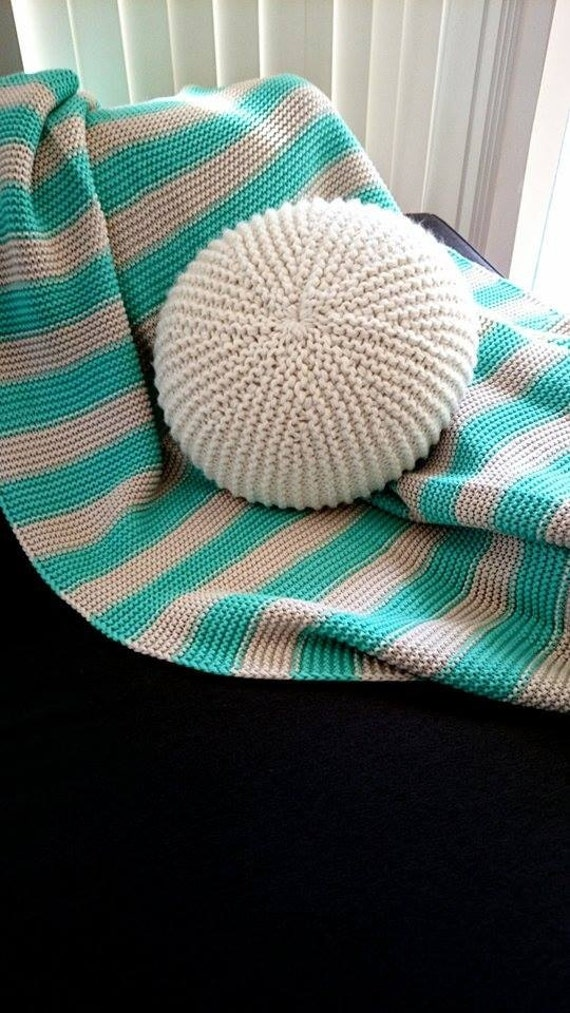 Handmade knitted round throw pillow pouf. Crochet by CitraHome