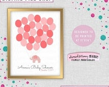"""Baby Shower Keepsake Sign """"Elephant Balloons 25 """" (Printable File Only) 11""""x14"""" Digital Sign Alternate Guest Book Gift For Mommy"""