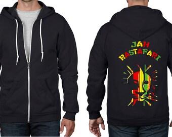 Jah Rastafari Reggae Full Zip Hoodie