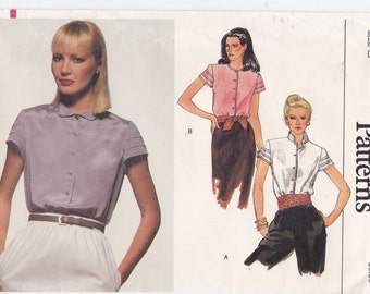 Vogue Sewing Pattern 7608 Shirt with Short Pleated Sleeves Size 8