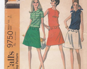 Dropped Waist Dress Sleeveless Dress Vintage McCall's Sewing Pattern 9750 Misses' Size 8 Bust 31.5