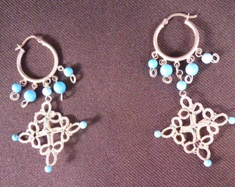 Sterling Silver Hoop Earrings With Turquoise And A Tatted Drop