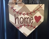 Baseball Home Plate Base, Baseball Decor, Baseball Wreath, Sports Wreath, Sports Decor, Summer Door Hanger, Wooden Door Hanger,