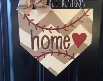 Baseball Home Plate Base, Baseball Decor, Baseball Wreath, Sports Wreath, Sports Decor, Summer Door Hanger, Wooden Door Hanger,