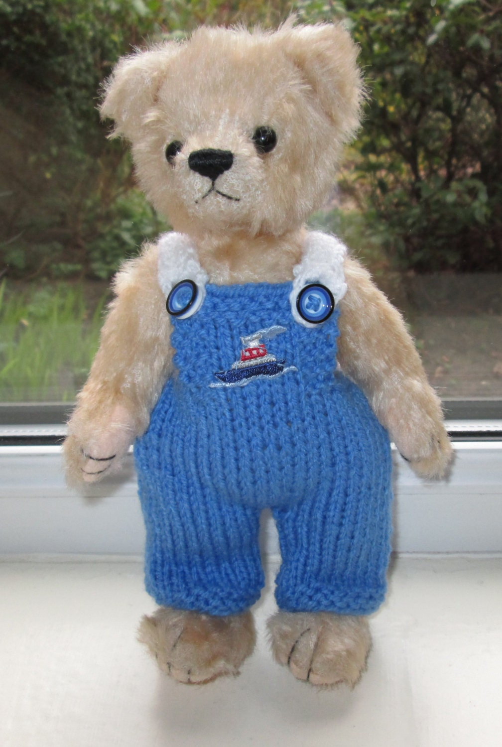 teddy bear clothes hand knitted blue dungarees with a