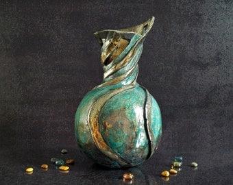fine art ceramic Raku vase, turquoise ceramic vase, raku pottery vase, artistic vase, liberty vase, decorative vase, modern vase